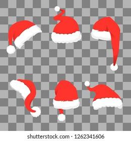 Long, beautiful, red, winter, Santa hat. Vector graphics