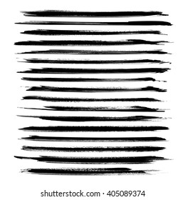 Long black ink strokes set isolated on a white background