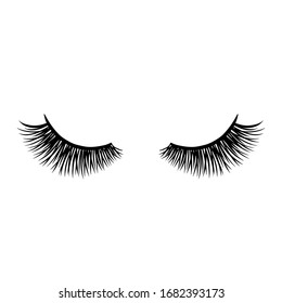 Long black lashes vector illustration. Beautiful Eyelashes isolated on white. For beauty salon, lash extensions maker. Closed eyes.