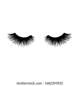 Long black lashes vector illustration. Beautiful Eyelashes isolated on white. For beauty salon, lash extensions maker. Closed eyes.