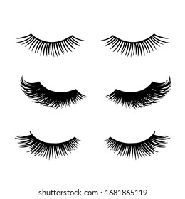 Long black lashes vector set. Different types Beautiful Eyelashes isolated on white background. For beauty salon, lash extensions makers. Closed eyes.