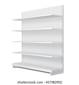 Long Blank Empty Showcase Display With Retail Shelves. Perspective View 3D. Illustration Isolated On White Background. Mock Up Template Ready For Your Design. Product Advertising. Vector EPS10
