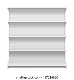 Long Blank Empty Showcase Displays With Retail Shelves Front View 3D Products On White Background Isolated. Ready For Your Design. Product Advertising. Vector EPS10