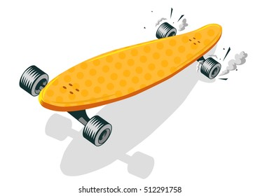 Long Board Cool Comic Cartoon Vector Illustration On A White Background.