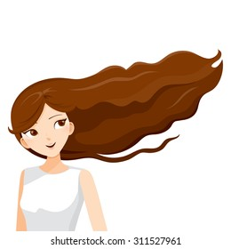 Long brown hair of young woman, blowing in the wind, hairstyles, beauty
