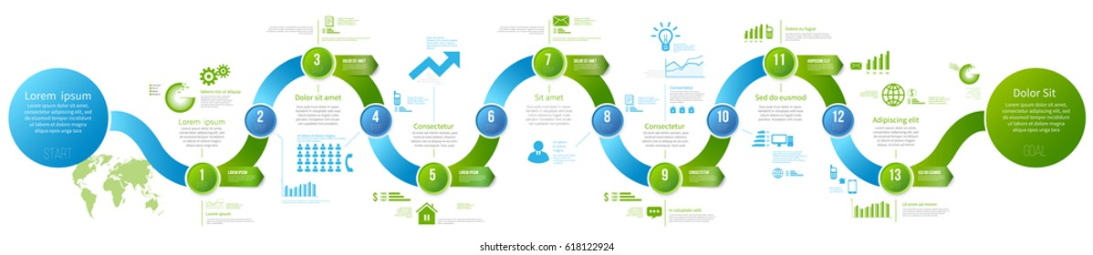 Long business workflow, roadmap or process template concept, timeline with arrows. Infographics layout with 13 steps, history with milestones, presentation and graph