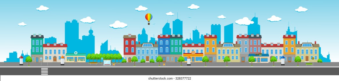 Long city street with various urban buildings, houses, shops, cafes, trees and facilities