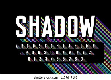 Long colorful shadow font, alphabet letters and numbers vector illustration