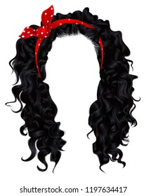 long curly hairs  brunette black  dark colors. beauty fashion style. wig. Red bow