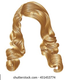 long curly hairs  light blond  colors . retro style .  beauty fashion . wig .