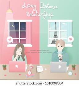 Long distance relationship concept with boy and girl chatting in a different country, love couple. Flat design vector illustration.