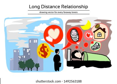 Long distance relationship of family. Husband working for money in difference time zone and Wife live at home to take care baby and house. They are trust each other. Editable layers hand draw vector.