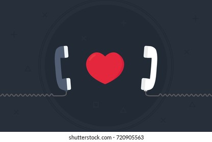 Long Distance Relationship Illustration, Love Call Concept, Love Talking