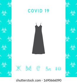Long Dress, Evening dress, combination or nightie , the silhouette. Menu item in the web design