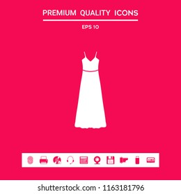 Long Dress, Evening dress or sundress with belt , the silhouette. Menu item in the web design