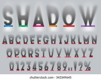 Long drop shadow alphabet, top view.
