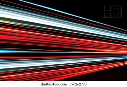 long exposure traffic lights. High quality vector Illustration