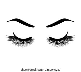 Long eyelashes and eyebrow on a white background. Symbol. Vector illustration.