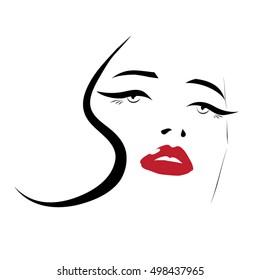 Long eyelashes eyeliner red lips woman face beauty icon