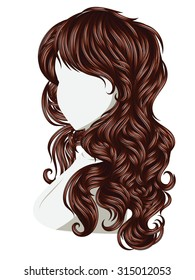 Long female curly hair style, fashion illustration.