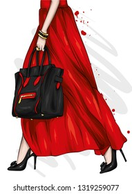 Long female legs in a beautiful skirt and high-heeled shoes. Stylish bag. Fashion and style, clothing and accessories. Vector illustration, print on a postcard or t-shirt.