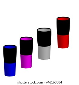 Long Glass in plastic 3d vector with difference color.