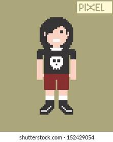 long hair rocker dude pixel art character