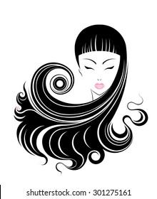 Long hair style icon, logo women face on white background.