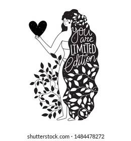 Long hair woman with heart in hand. You are limited edition lettering and calligraphy phrase. Inspirational black white typography poster, apparel print design with stars and grunge dots. Trendy art