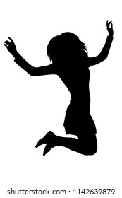 Long haired teen girl jumping silhouette vector