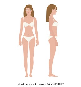 Long haired woman in white underwear on white background, front and side view. Vector illustration, realistic style.