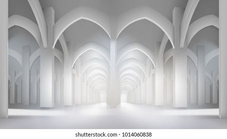 Long hall in historic interior. Vector illustration.