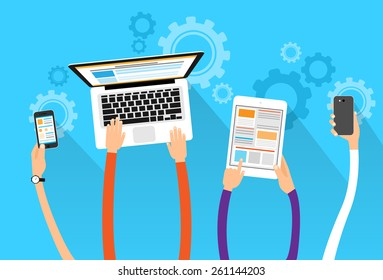 long hands hold device electronics gadget concept laptop phone tablet flat vector illustration
