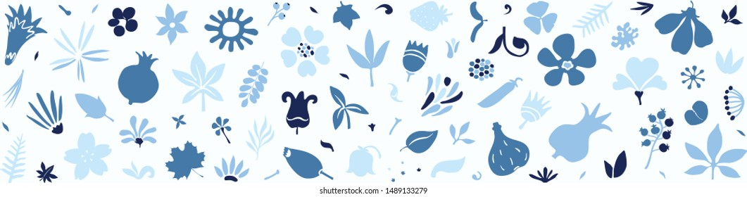long horizontal border or background filled with beautiful stylized flat design floral doodles