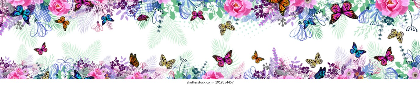 A long horizontal frame with butterflies. site header. Vector illustration