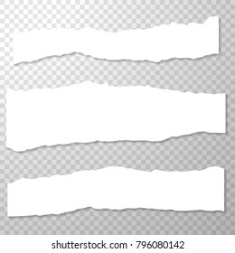 Long Horizontal Torned Off Pieces of Paper. Empty Isolated Edges set on Transparent Background. White Banner. Template for Advertising. Vector Illustration