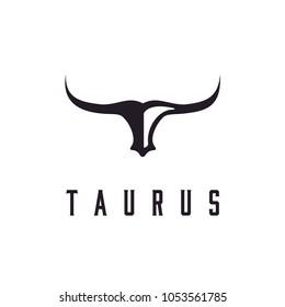 Long Horn Bull Cow Cattle Head Toro Taurus logo design inspiration