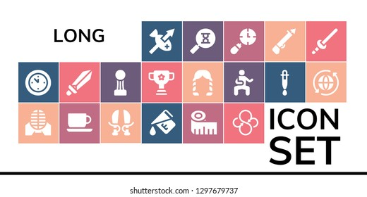 long icon set. 19 filled long icons. Simple modern icons about  - Spear, Wall clock, Martial arts, Coffee cup, Sword, Measure, Measuring tape, Sync, Cup, Hairstyle, Dropper, Sandclock