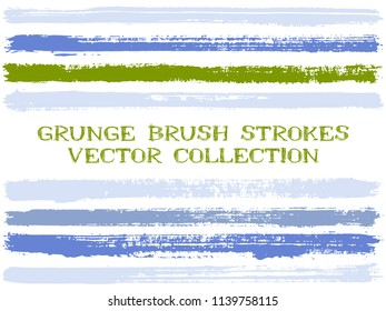 Long ink brush strokes isolated design elements. Set of paint lines. Dry stripes, textured paintbrush stroke shapes. Ink brush stripes isolated on white, vector wall paint samples set.