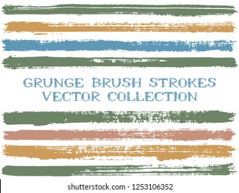 Long ink brush strokes isolated design elements. Set of paint lines. Cool stripes, textured paintbrush stroke shapes. Collection of ink brushes, stripes isolated on white, vector paint samples.