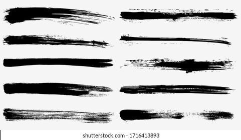 Long ink strokes with different shades. Grunge style illustration, dirty ink brush strokes for graphic design. For banners, sketches, stickers