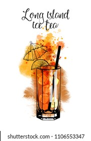 Long island ice tea.Watercolor illustration of cocktail. Hand drawn sketch