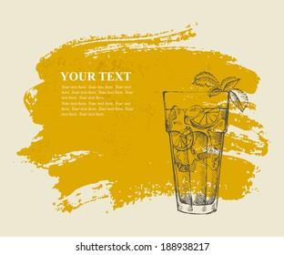 Long island iced tea cocktail on orange grunge background
