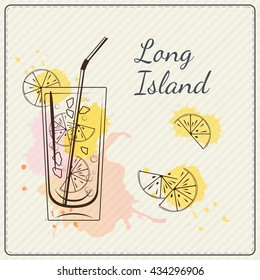 Long island iced tea. Hand drawn vector illustration of cocktail. Colorful watercolor background