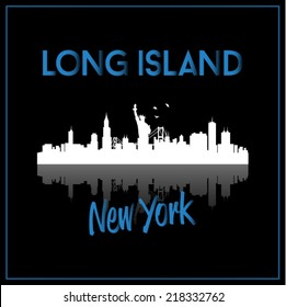 Long Island, New York, USA skyline silhouette vector design on black background.
