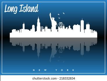 Long Island, New York, USA skyline silhouette vector design on parliament blue background.