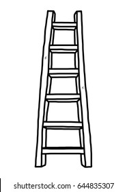 long ladder / cartoon vector and illustration, black and white, hand drawn, sketch style, isolated on white background.