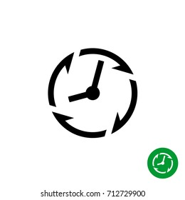 Long lifetime period icon. Timer with circle clockwise arrows around.