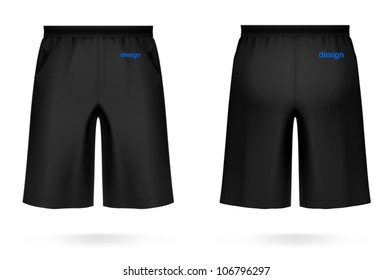 Long men's SHORTS, black color. VECTOR illustration, created with love to details. More apparel design in my portfolio!