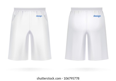 Long men's SHORTS, white color. VECTOR illustration, created with love to details. More apparel design in my portfolio!